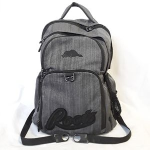 Roots gray multi pocket embroidered backpack